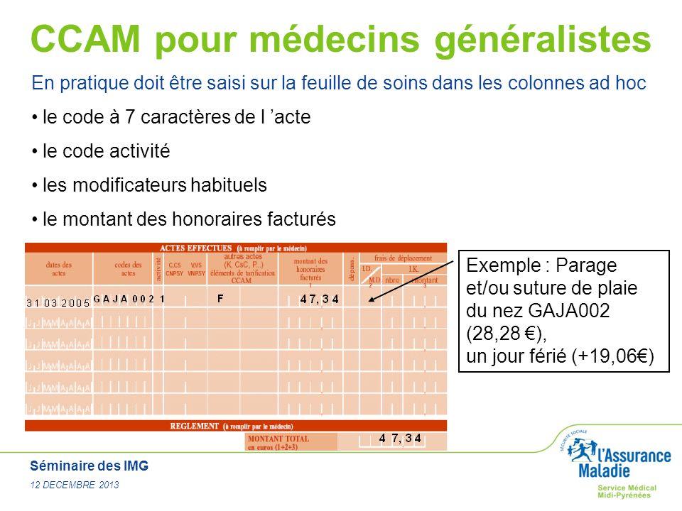 Séminaire des IMG 12 DECEMBRE 2013 CCAM pour médecins généralistes En pratique doit être saisi sur la feuille de soins dans les colonnes ad hoc le cod