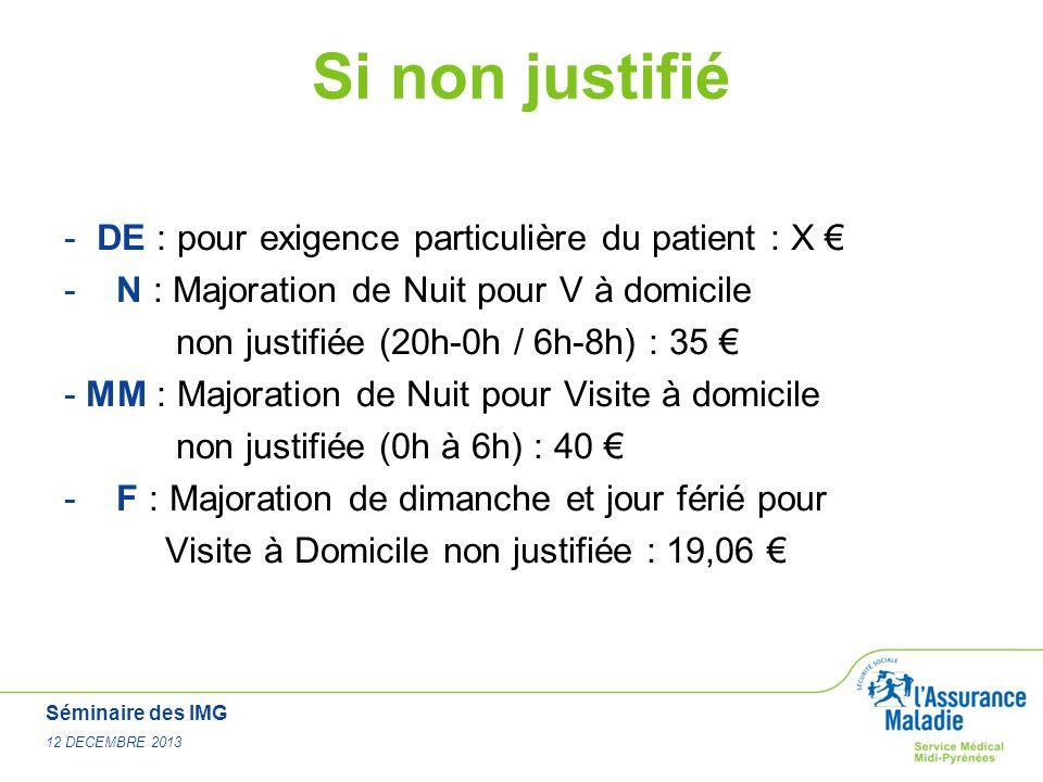Séminaire des IMG 12 DECEMBRE 2013 Si non justifié - DE : pour exigence particulière du patient : X - N : Majoration de Nuit pour V à domicile non jus