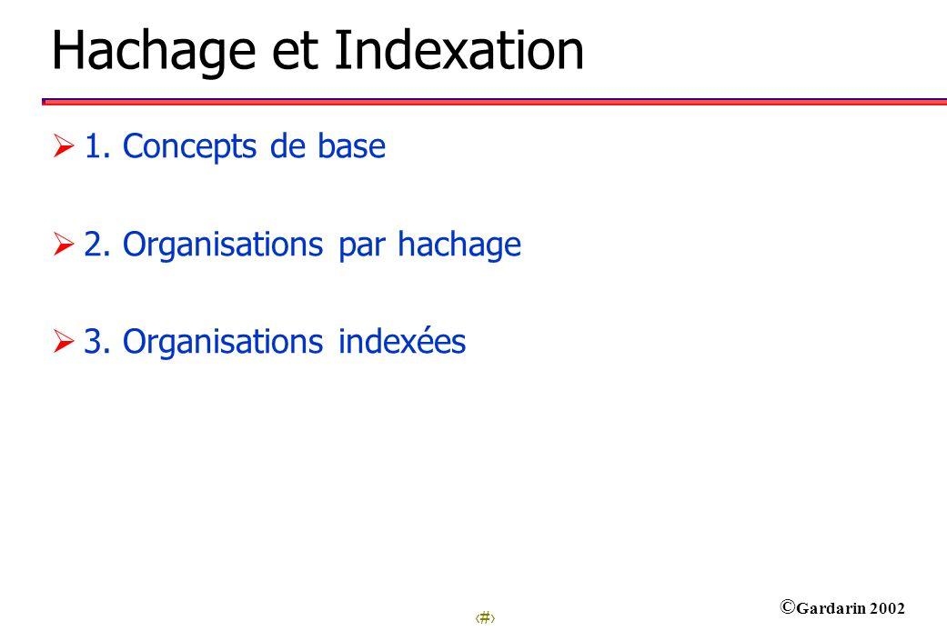 1 © Gardarin 2002 Hachage et Indexation 1.Concepts de base 2.