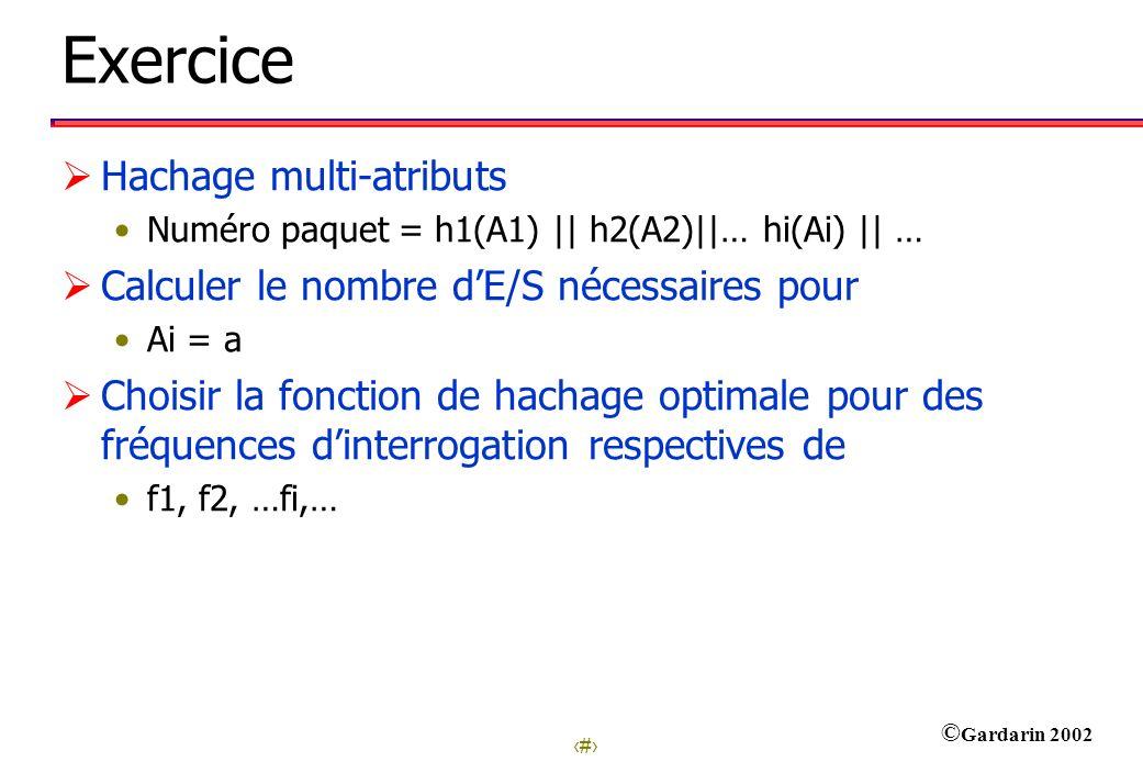 24 © Gardarin 2002 Exercice Hachage multi-atributs Numéro paquet = h1(A1) || h2(A2)||… hi(Ai) || … Calculer le nombre dE/S nécessaires pour Ai = a Choisir la fonction de hachage optimale pour des fréquences dinterrogation respectives de f1, f2, …fi,…