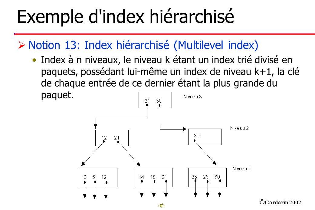 29 © Gardarin 2002 Exemple d index hiérarchisé Notion 13: Index hiérarchisé (Multilevel index) Index à n niveaux, le niveau k étant un index trié divisé en paquets, possédant lui-même un index de niveau k+1, la clé de chaque entrée de ce dernier étant la plus grande du paquet.