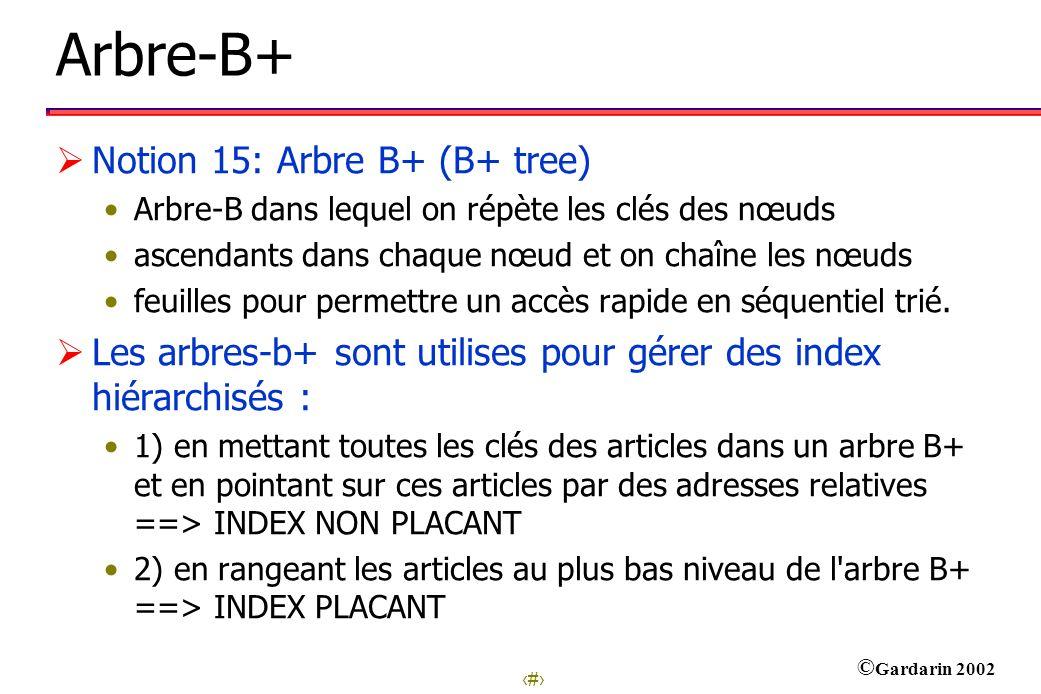 37 © Gardarin 2002 Arbre-B+ Notion 15: Arbre B+ (B+ tree) Arbre-B dans lequel on répète les clés des nœuds ascendants dans chaque nœud et on chaîne les nœuds feuilles pour permettre un accès rapide en séquentiel trié.