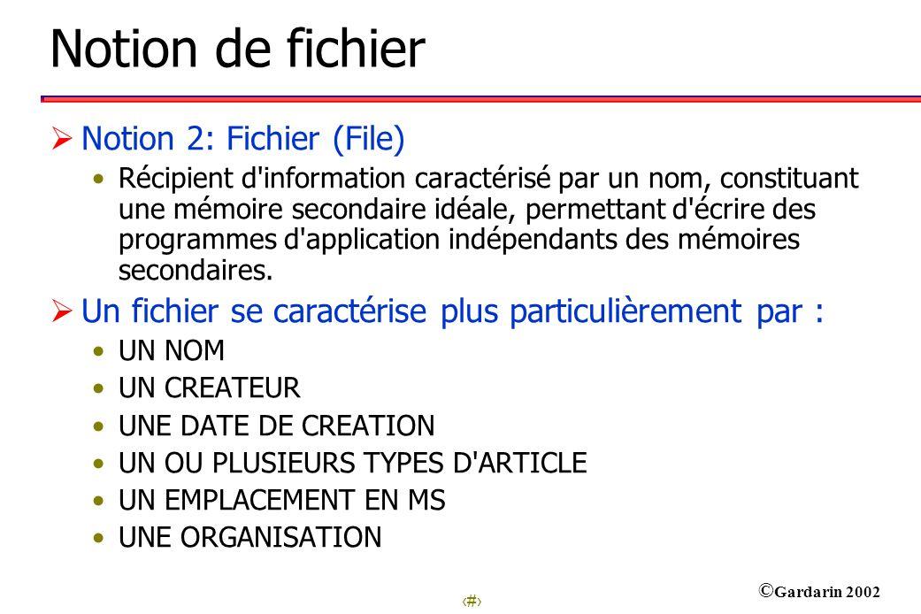 4 © Gardarin 2002 Notion de fichier Notion 2: Fichier (File) Récipient d information caractérisé par un nom, constituant une mémoire secondaire idéale, permettant d écrire des programmes d application indépendants des mémoires secondaires.