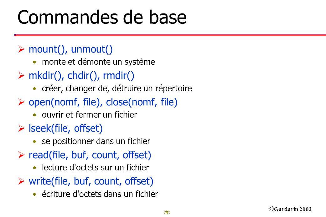 8 © Gardarin 2002 Commandes de base mount(), unmout() monte et démonte un système mkdir(), chdir(), rmdir() créer, changer de, détruire un répertoire open(nomf, file), close(nomf, file) ouvrir et fermer un fichier lseek(file, offset) se positionner dans un fichier read(file, buf, count, offset) lecture d octets sur un fichier write(file, buf, count, offset) écriture d octets dans un fichier