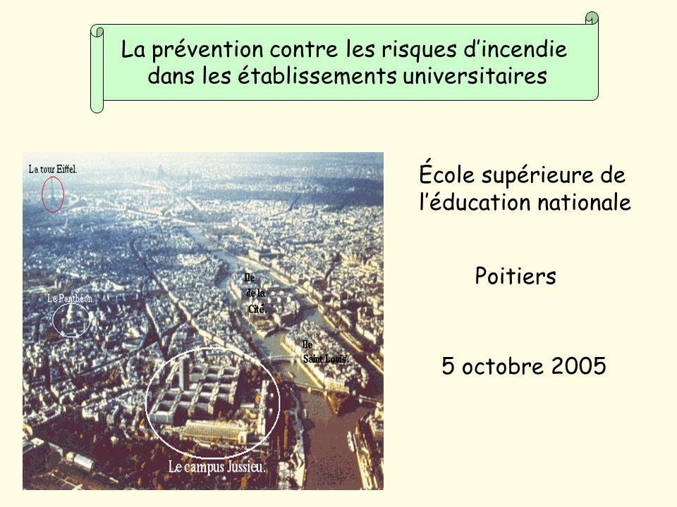 École supérieure de léducation nationale Poitiers 5 octobre 2005 La prévention contre les risques dincendie dans les établissements universitaires