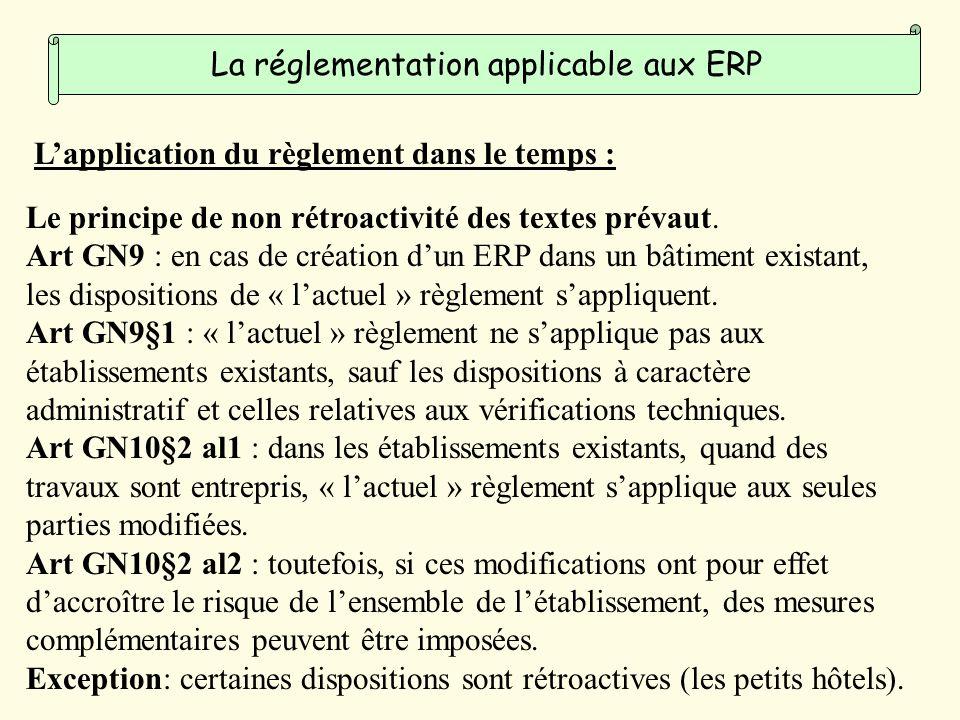 Lapplication du règlement dans le temps : Le principe de non rétroactivité des textes prévaut.