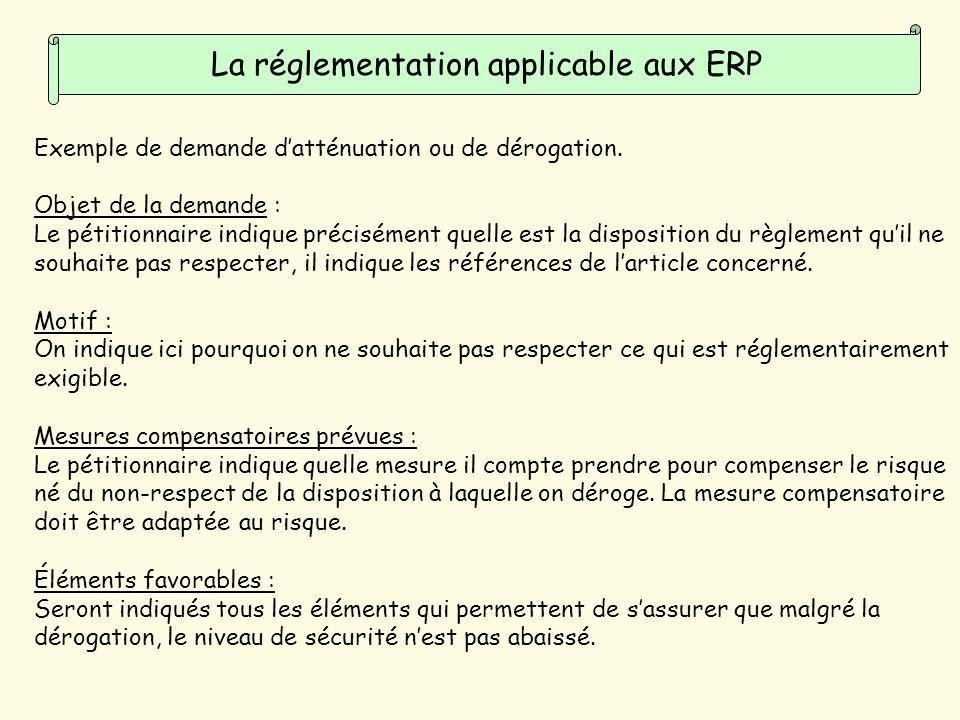 La réglementation applicable aux ERP Exemple de demande datténuation ou de dérogation.