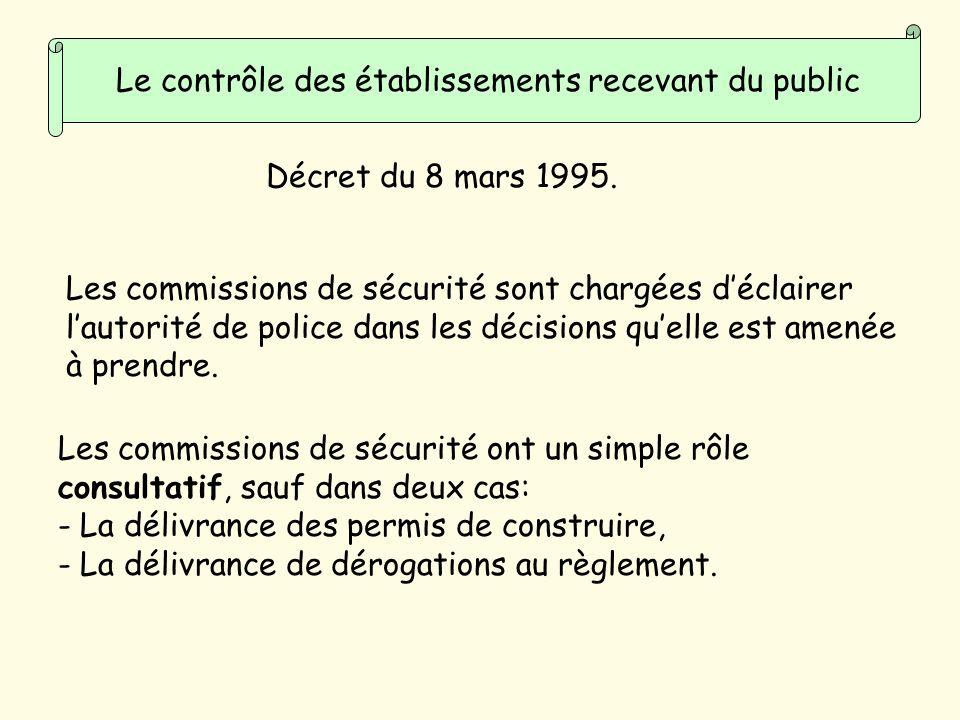 Le contrôle des établissements recevant du public Les commissions de sécurité sont chargées déclairer lautorité de police dans les décisions quelle est amenée à prendre.