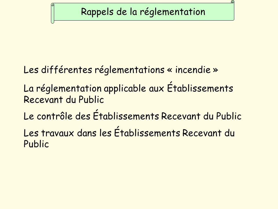 Rappels de la réglementation Les différentes réglementations « incendie » La réglementation applicable aux Établissements Recevant du Public Le contrôle des Établissements Recevant du Public Les travaux dans les Établissements Recevant du Public