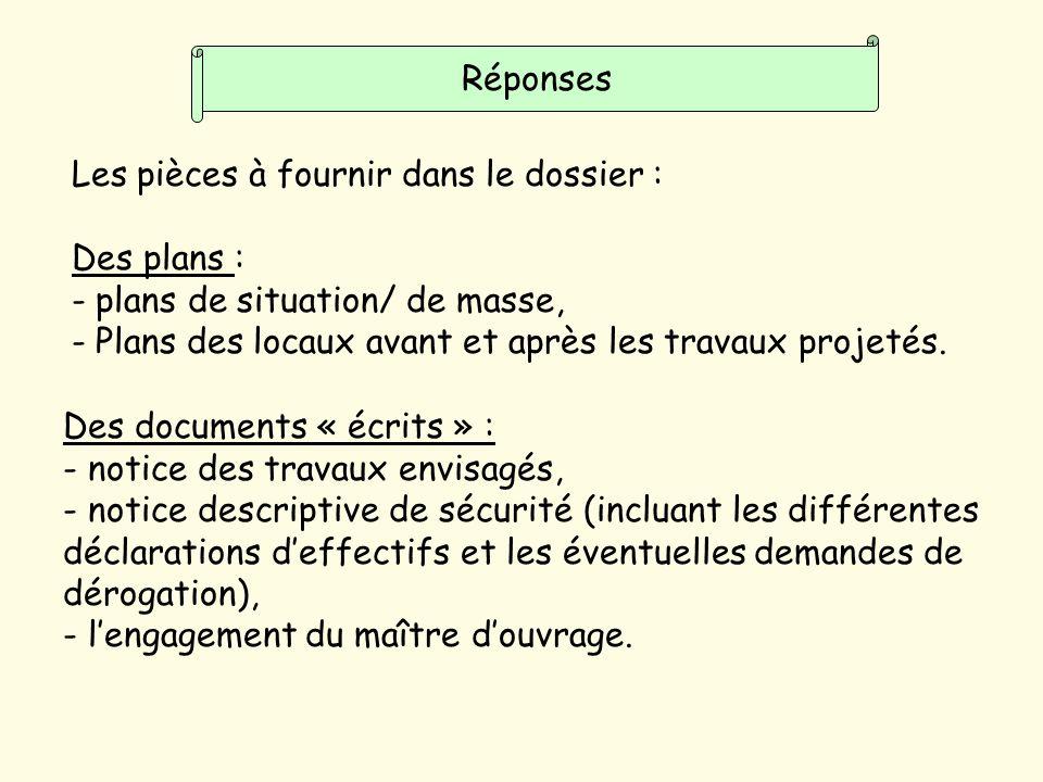 Réponses Les pièces à fournir dans le dossier : Des plans : - plans de situation/ de masse, - Plans des locaux avant et après les travaux projetés.