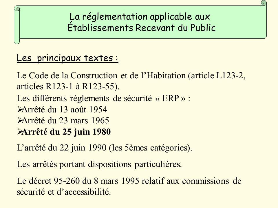 Le Code de la Construction et de lHabitation (article L123-2, articles R123-1 à R123-55).