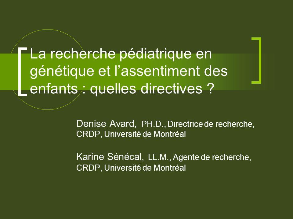 La recherche pédiatrique en génétique et lassentiment des enfants : quelles directives .