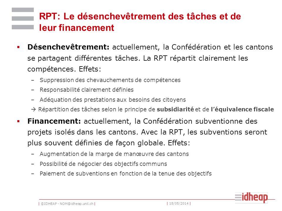 | ©IDHEAP - NOM@idheap.unil.ch | | 18/05/2014 | RPT: Le désenchevêtrement des tâches et de leur financement Désenchevêtrement: actuellement, la Confédération et les cantons se partagent différentes tâches.