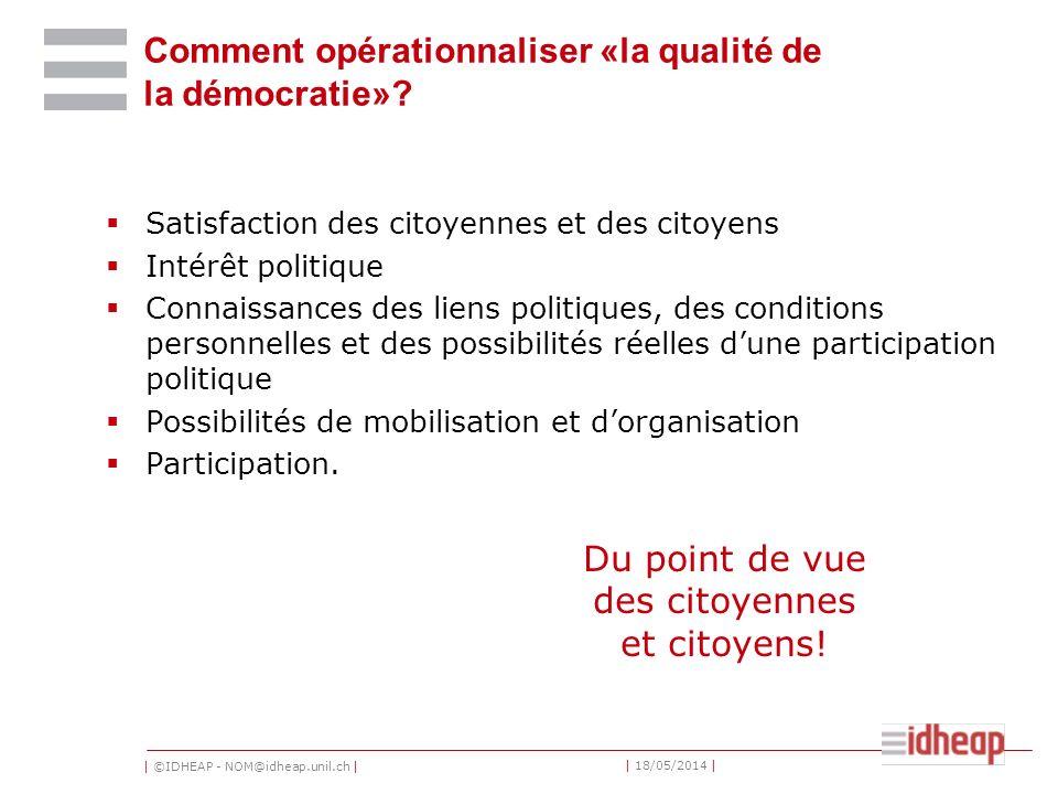 | ©IDHEAP - NOM@idheap.unil.ch | | 18/05/2014 | Comment opérationnaliser «la qualité de la démocratie».