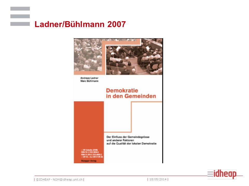 | ©IDHEAP - NOM@idheap.unil.ch | | 18/05/2014 | Ladner/Bühlmann 2007