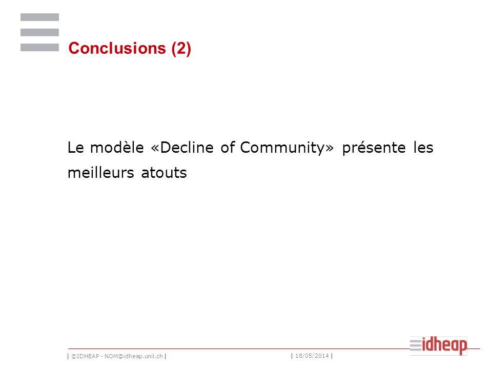 | ©IDHEAP - NOM@idheap.unil.ch | | 18/05/2014 | Conclusions (2) Le modèle «Decline of Community» présente les meilleurs atouts