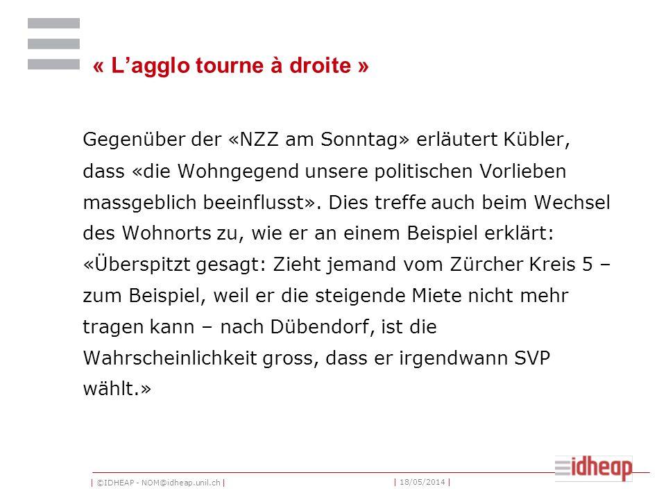 | ©IDHEAP - NOM@idheap.unil.ch | | 18/05/2014 | « Lagglo tourne à droite » Gegenüber der «NZZ am Sonntag» erläutert Kübler, dass «die Wohngegend unsere politischen Vorlieben massgeblich beeinflusst».