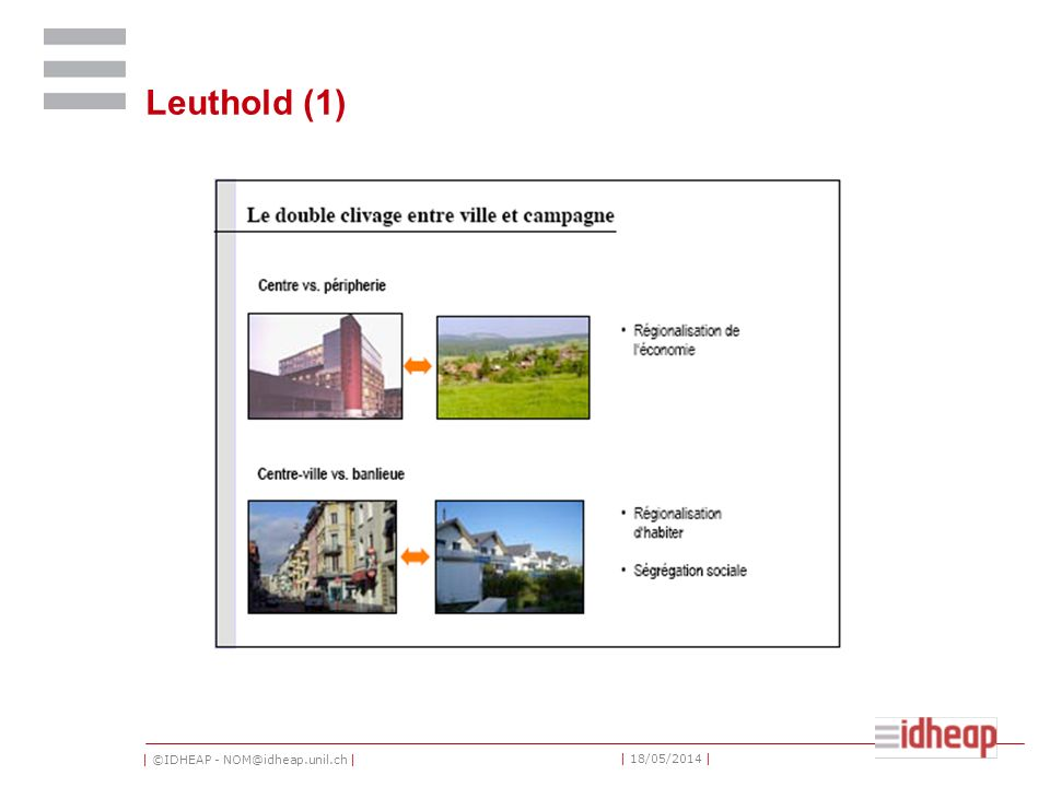 | ©IDHEAP - NOM@idheap.unil.ch | | 18/05/2014 | Leuthold (1)