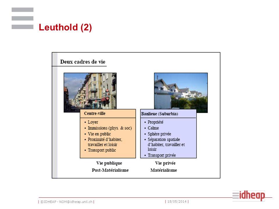 | ©IDHEAP - NOM@idheap.unil.ch | | 18/05/2014 | Leuthold (2)