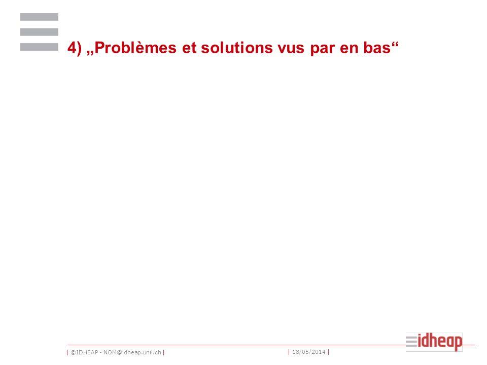 | ©IDHEAP - NOM@idheap.unil.ch | | 18/05/2014 | 4) Problèmes et solutions vus par en bas