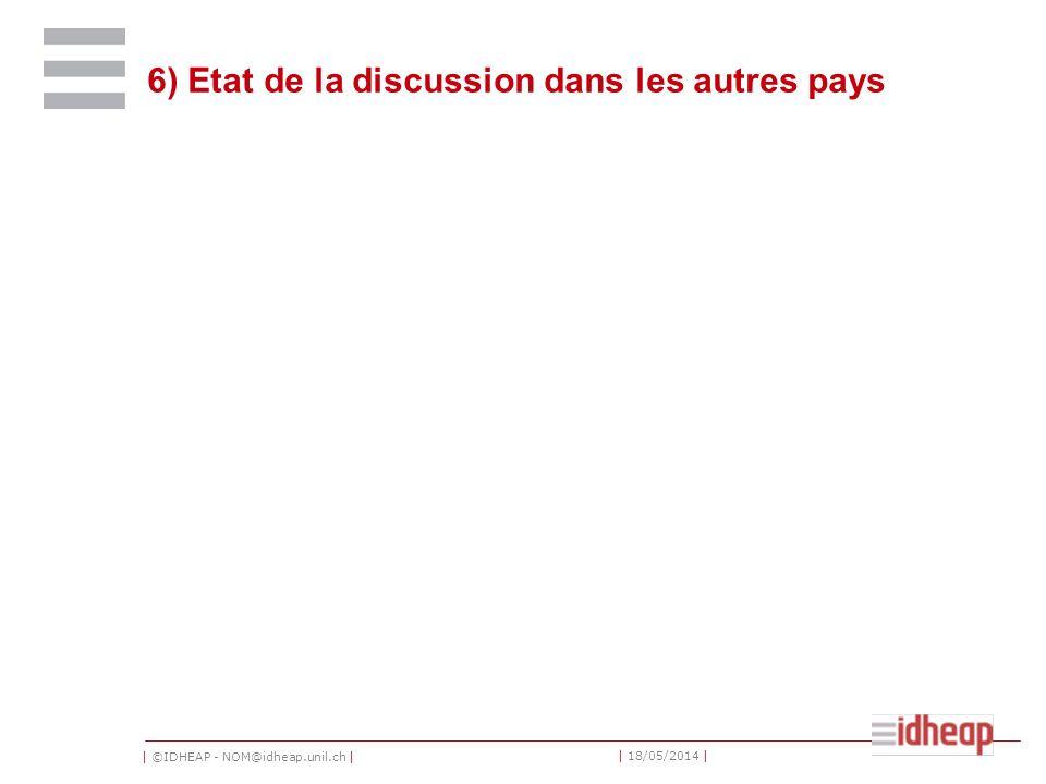 | ©IDHEAP - NOM@idheap.unil.ch | | 18/05/2014 | 6) Etat de la discussion dans les autres pays