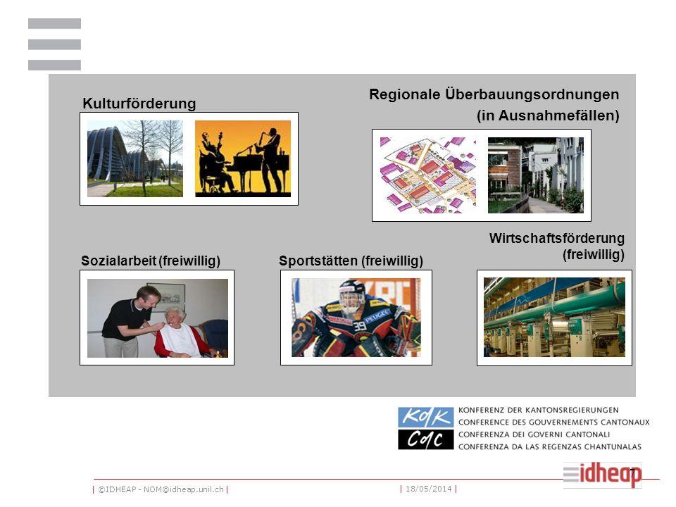 | ©IDHEAP - NOM@idheap.unil.ch | | 18/05/2014 | 7 Kulturförderung Regionale Überbauungsordnungen (in Ausnahmefällen) Sozialarbeit (freiwillig)Sportstätten (freiwillig) Die Zuständigkeiten der RK (2) Wirtschaftsförderung (freiwillig)