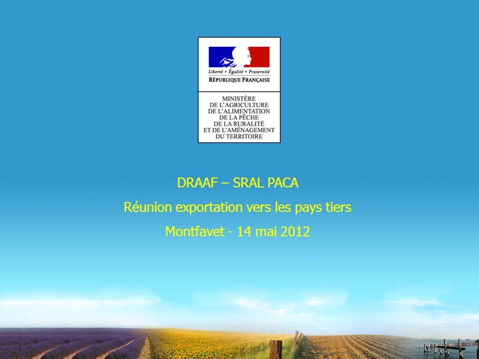 DRAAF – SRAL PACA Réunion exportation vers les pays tiers Montfavet - 14 mai 2012