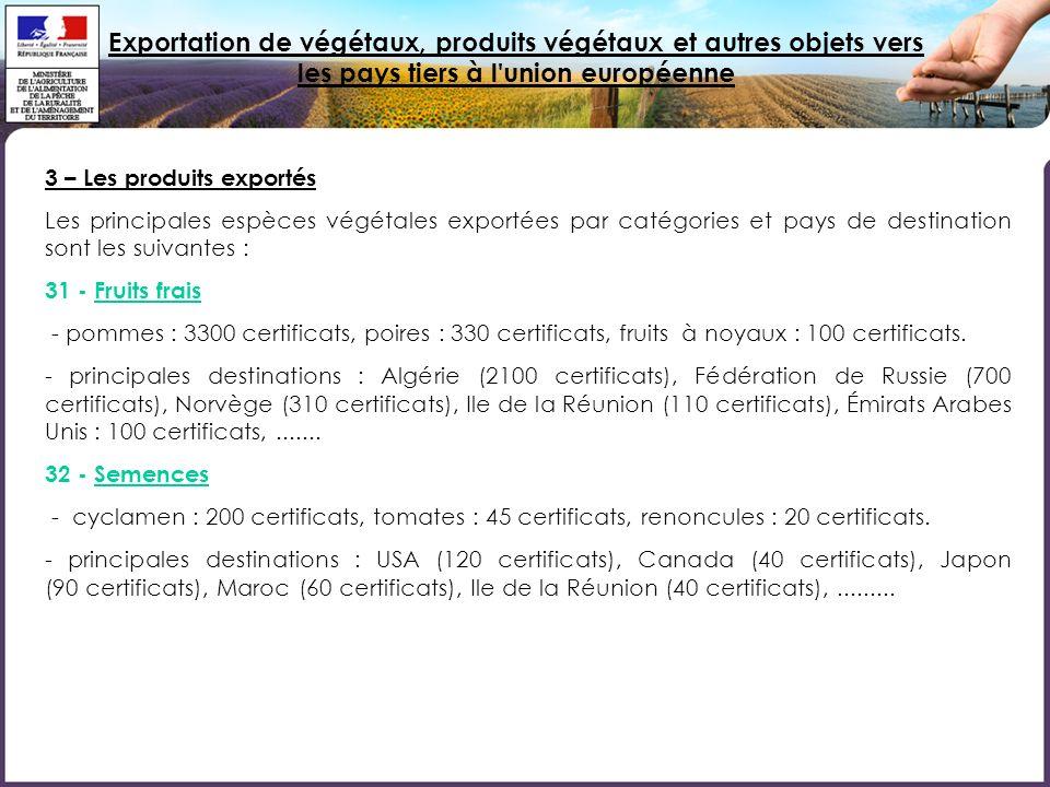 Exportation de végétaux, produits végétaux et autres objets vers les pays tiers à l union européenne 3 – Les produits exportés Les principales espèces végétales exportées par catégories et pays de destination sont les suivantes : 31 - Fruits frais - pommes : 3300 certificats, poires : 330 certificats, fruits à noyaux : 100 certificats.