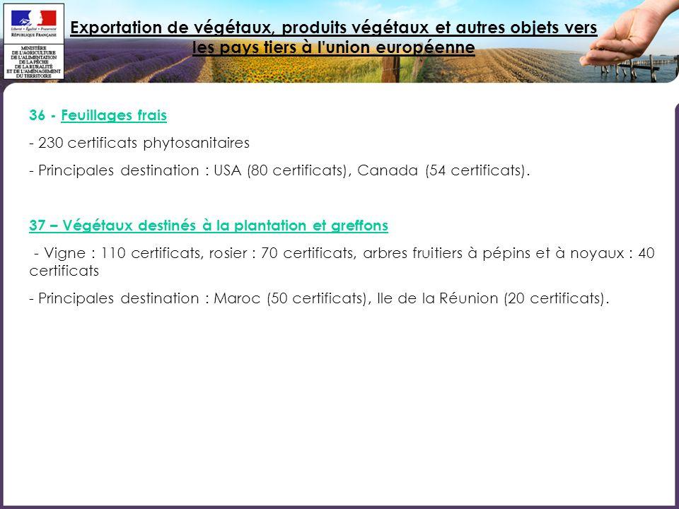 Exportation de végétaux, produits végétaux et autres objets vers les pays tiers à l'union européenne 36 - Feuillages frais - 230 certificats phytosani