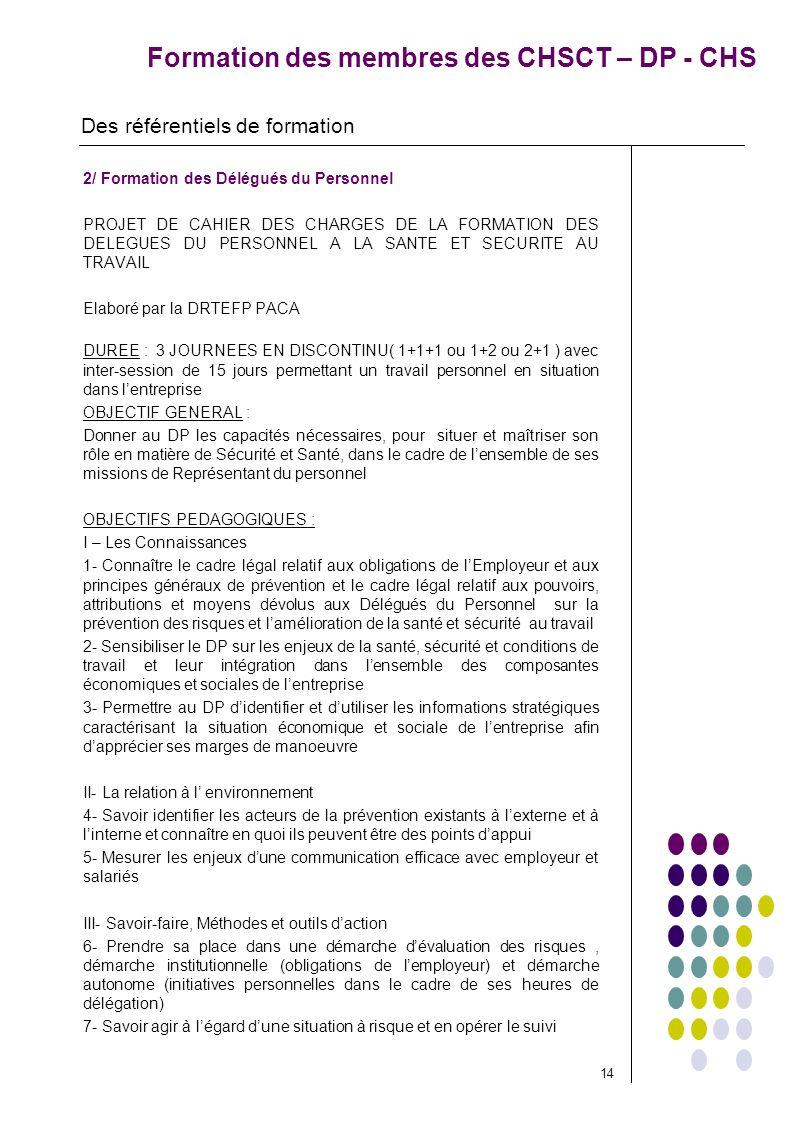 Formation des membres des CHSCT – DP - CHS 2/ Formation des Délégués du Personnel PROJET DE CAHIER DES CHARGES DE LA FORMATION DES DELEGUES DU PERSONN