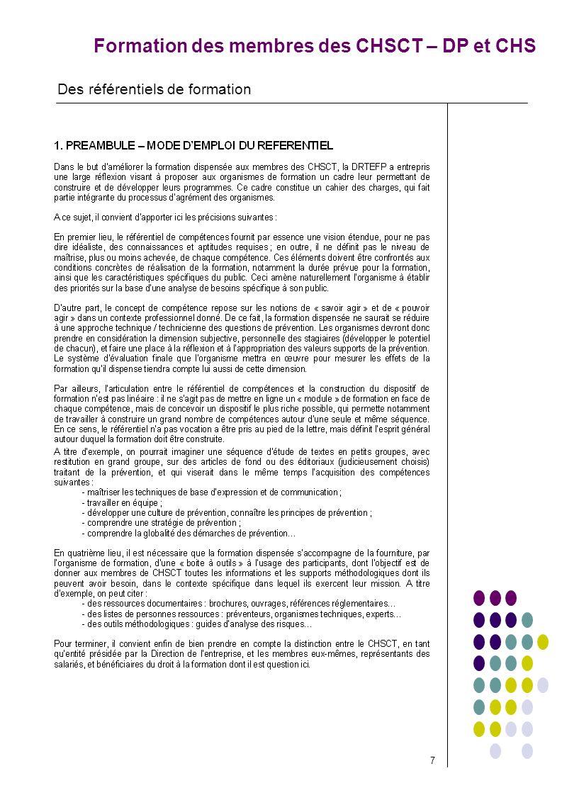 Formation des membres des CHSCT – DP et CHS Des référentiels de formation 7