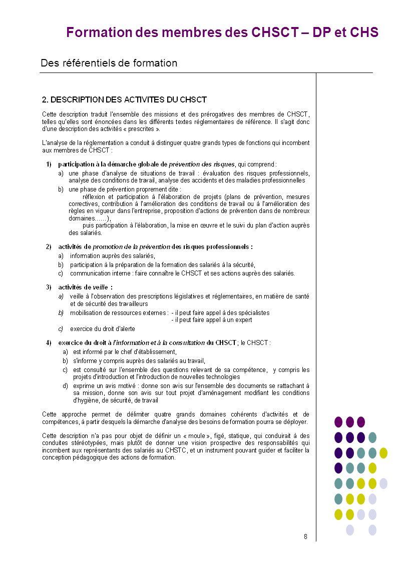 Formation des membres des CHSCT – DP et CHS Des référentiels de formation 8
