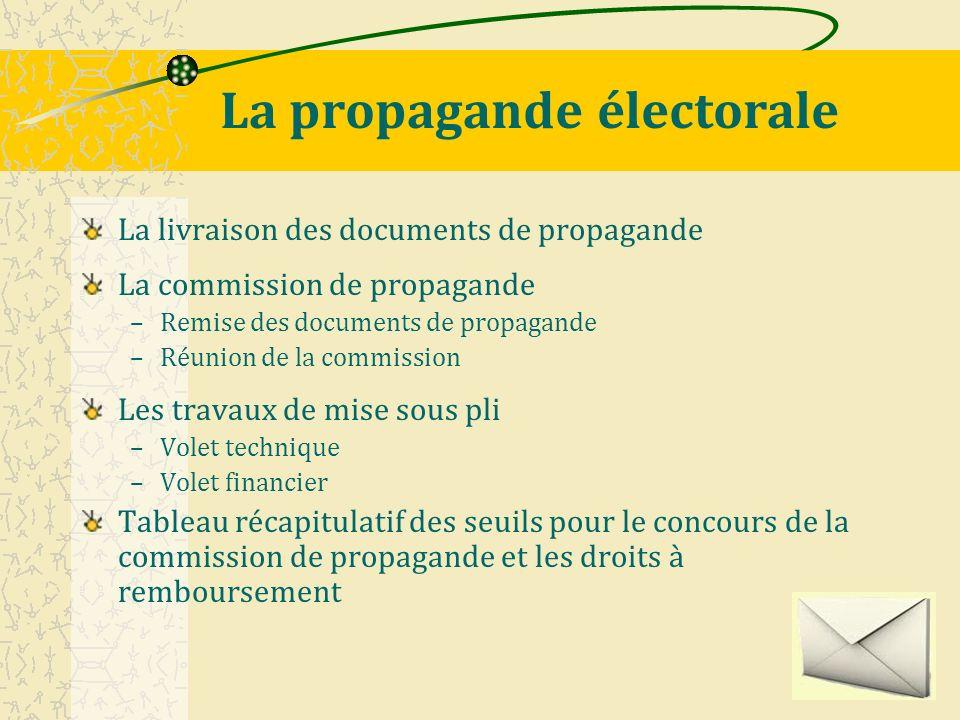 Livraisons des documents de propagande Les documents de propagande sont livrés par les candidats auprès de chaque mairie.