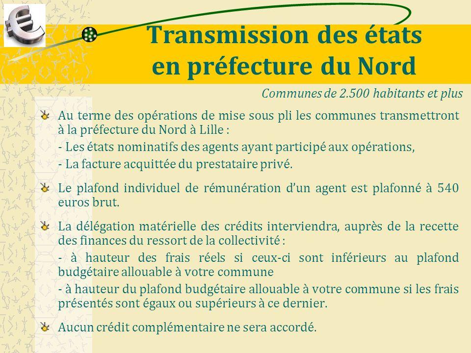 Transmission des états en préfecture du Nord Au terme des opérations de mise sous pli les communes transmettront à la préfecture du Nord à Lille : - L