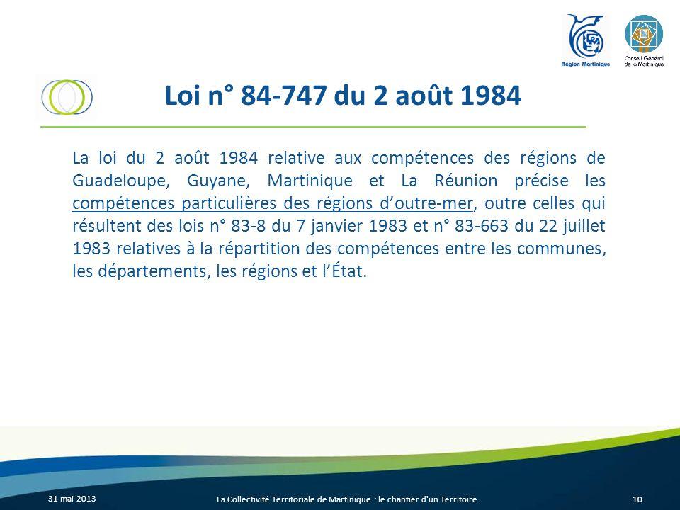 Loi n° 84-747 du 2 août 1984 La loi du 2 août 1984 relative aux compétences des régions de Guadeloupe, Guyane, Martinique et La Réunion précise les co