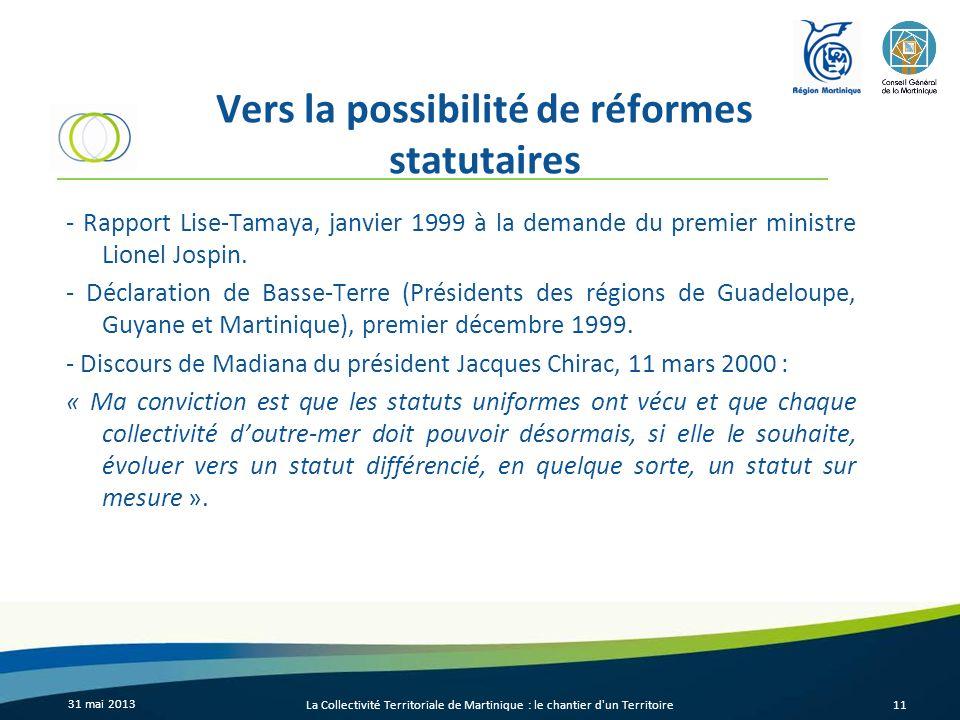 Vers la possibilité de réformes statutaires - Rapport Lise-Tamaya, janvier 1999 à la demande du premier ministre Lionel Jospin. - Déclaration de Basse