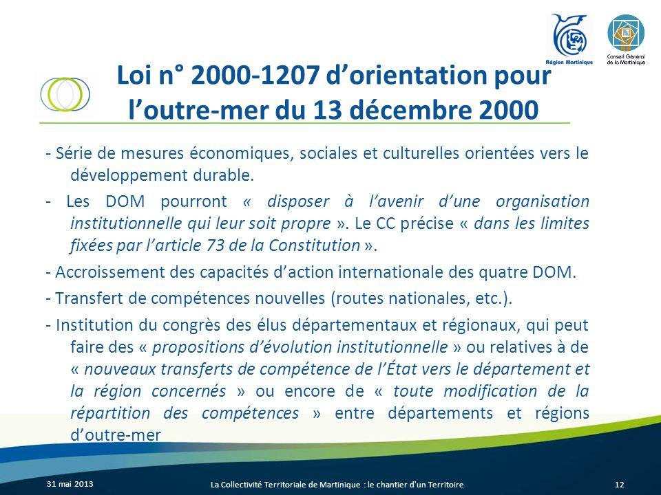 Loi n° 2000-1207 dorientation pour loutre-mer du 13 décembre 2000 - Série de mesures économiques, sociales et culturelles orientées vers le développem