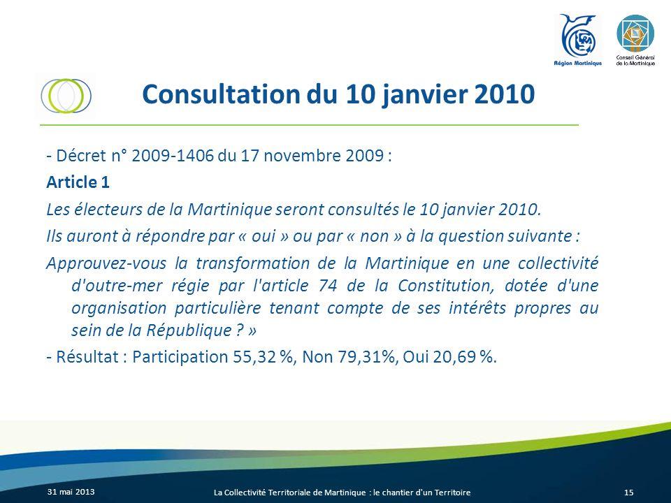 Consultation du 10 janvier 2010 - Décret n° 2009-1406 du 17 novembre 2009 : Article 1 Les électeurs de la Martinique seront consultés le 10 janvier 20
