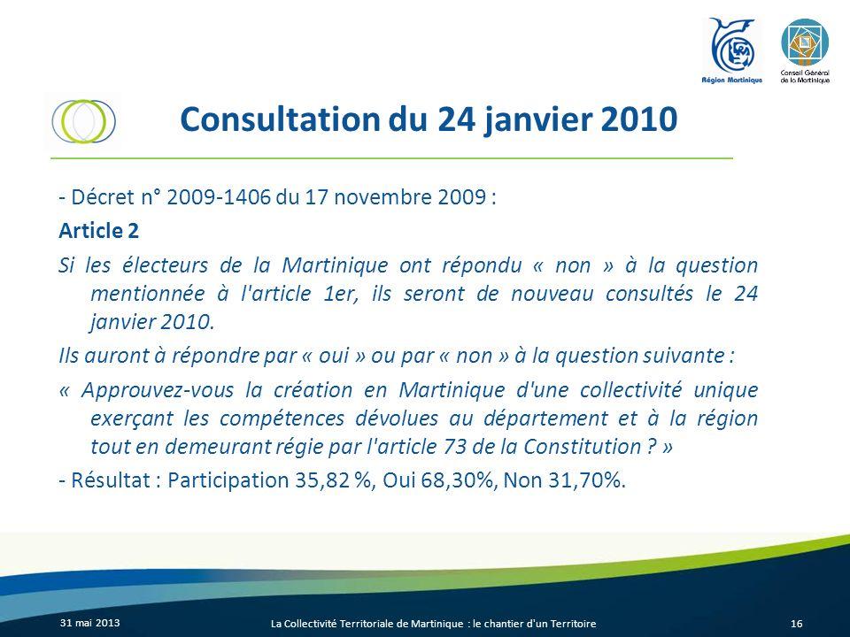 Consultation du 24 janvier 2010 - Décret n° 2009-1406 du 17 novembre 2009 : Article 2 Si les électeurs de la Martinique ont répondu « non » à la quest