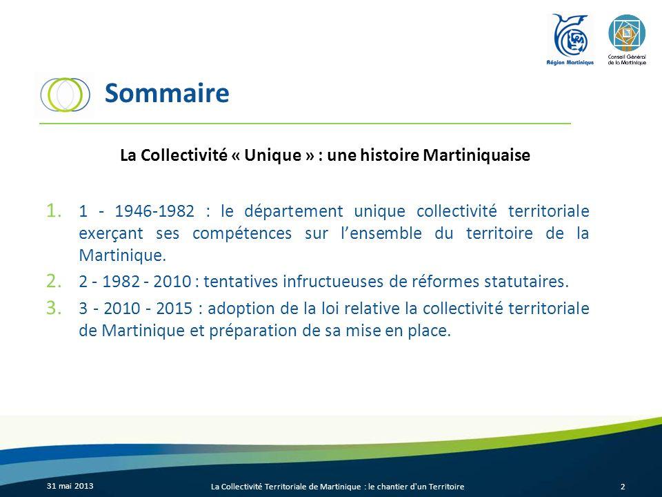 Sommaire 1. 1 - 1946-1982 : le département unique collectivité territoriale exerçant ses compétences sur lensemble du territoire de la Martinique. 2.