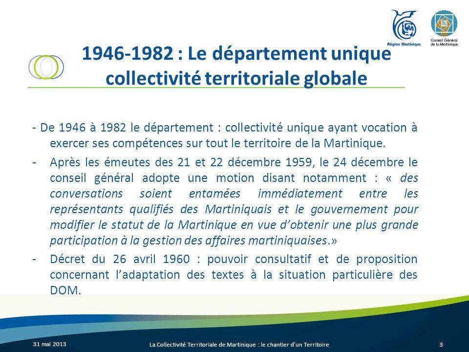 1946-1982 : Le département unique collectivité territoriale globale - De 1946 à 1982 le département : collectivité unique ayant vocation à exercer ses
