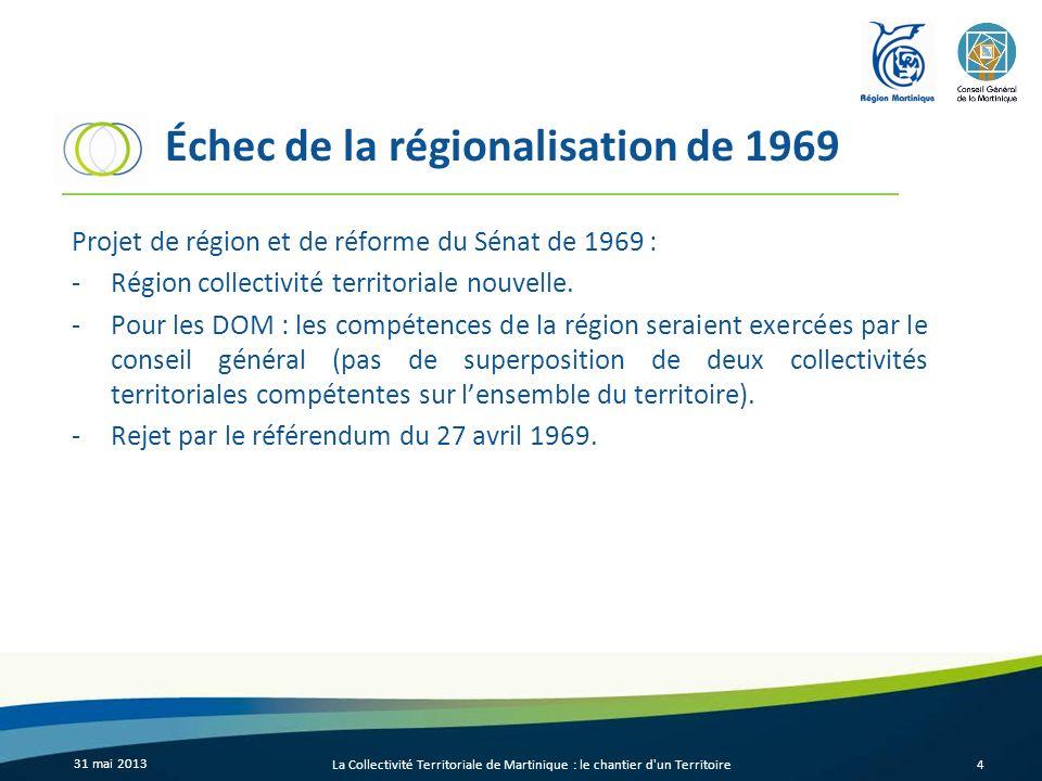 Échec de la régionalisation de 1969 Projet de région et de réforme du Sénat de 1969 : -Région collectivité territoriale nouvelle. -Pour les DOM : les