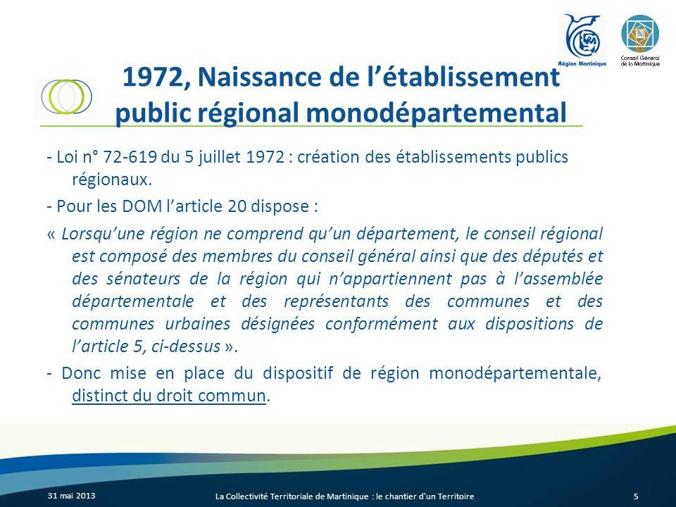 1972, Naissance de létablissement public régional monodépartemental - Loi n° 72-619 du 5 juillet 1972 : création des établissements publics régionaux.