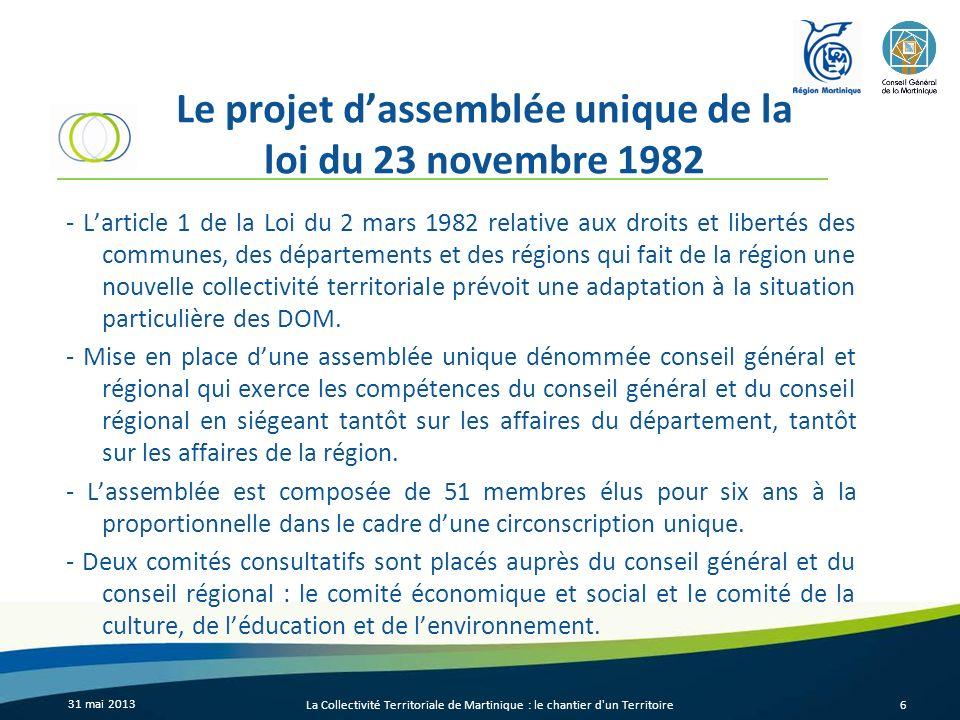 Le projet dassemblée unique de la loi du 23 novembre 1982 - Larticle 1 de la Loi du 2 mars 1982 relative aux droits et libertés des communes, des dépa