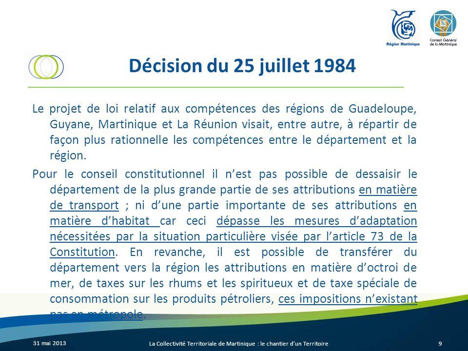 Décision du 25 juillet 1984 Le projet de loi relatif aux compétences des régions de Guadeloupe, Guyane, Martinique et La Réunion visait, entre autre,