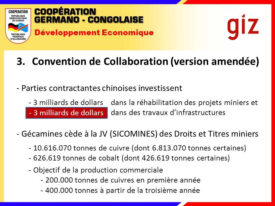 Développement Economique 3.Convention de Collaboration (version amendée) - Parties contractantes chinoises investissent - 3 milliards de dollars dans la réhabilitation des projets miniers et - 6 milliards de dollars dans des travaux dinfrastructures - 3 milliards de dollars - Gécamines cède à la JV (SICOMINES) des Droits et Titres miniers - 10.616.070 tonnes de cuivre (dont 6.813.070 tonnes certaines) - 626.619 tonnes de cobalt (dont 426.619 tonnes certaines) - Objectif de la production commerciale - 200.000 tonnes de cuivres en première année - 400.000 tonnes à partir de la troisième année
