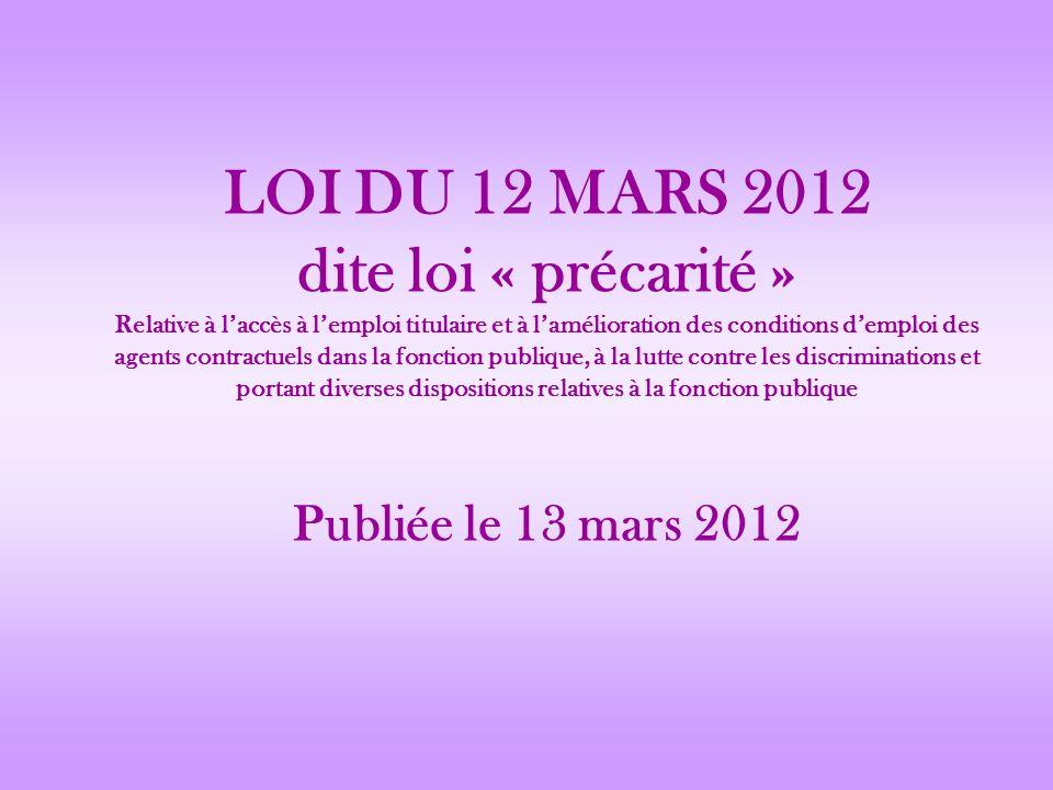 LOI DU 12 MARS 2012 dite loi « précarité » Relative à laccès à lemploi titulaire et à lamélioration des conditions demploi des agents contractuels dan