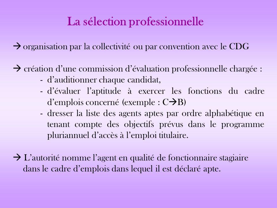 organisation par la collectivité ou par convention avec le CDG création dune commission dévaluation professionnelle chargée : - dauditionner chaque ca