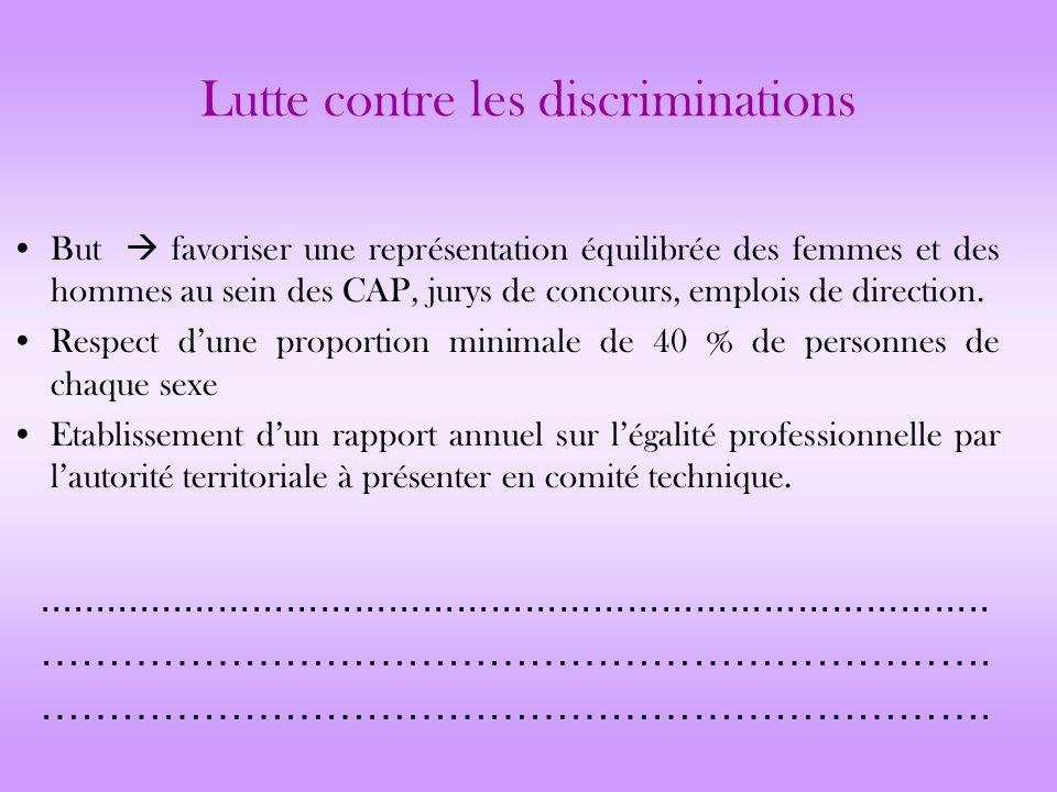 Lutte contre les discriminations But favoriser une représentation équilibrée des femmes et des hommes au sein des CAP, jurys de concours, emplois de d