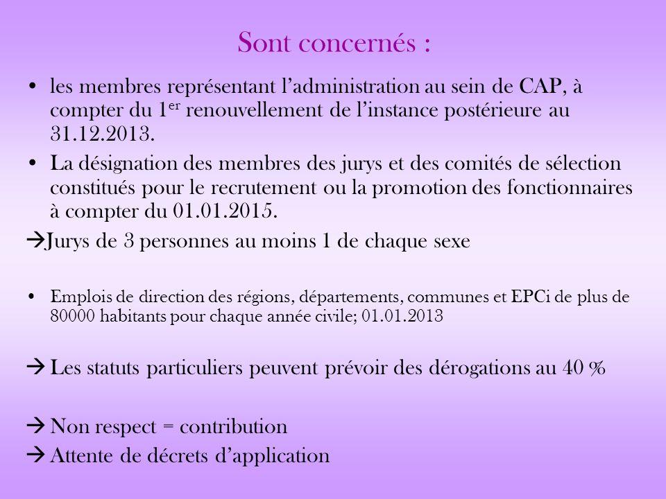 Sont concernés : les membres représentant ladministration au sein de CAP, à compter du 1 er renouvellement de linstance postérieure au 31.12.2013. La